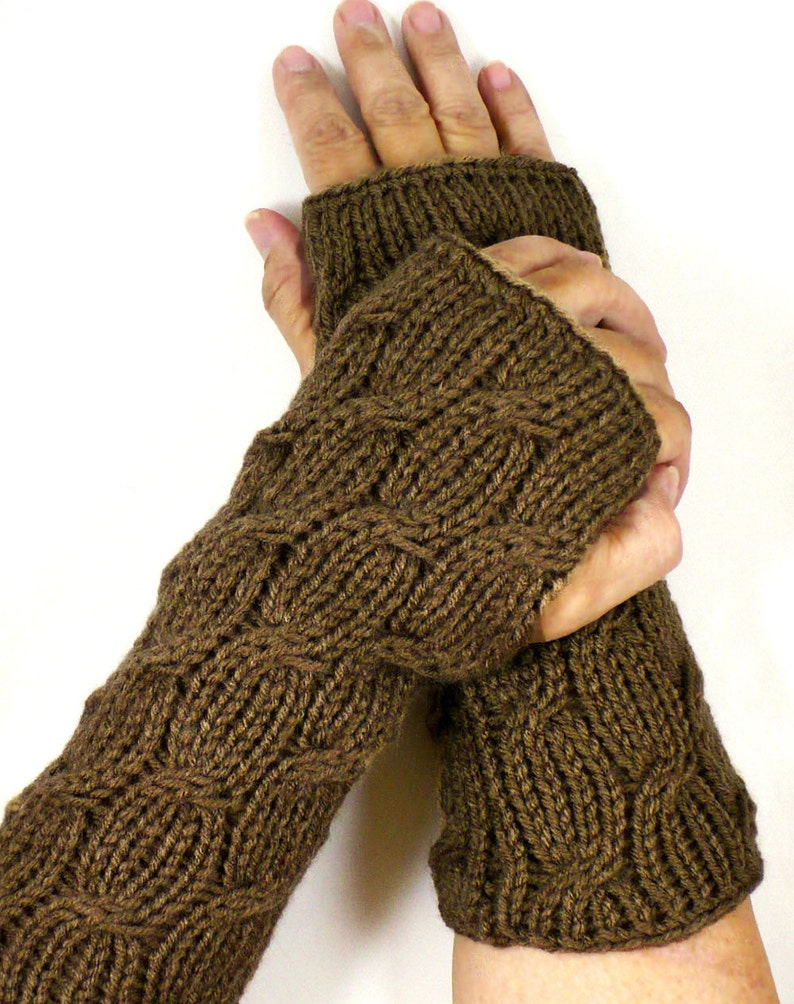 Knit Fingerless Mittens Brown Cable Gloves Gauntlets Mocha image 0