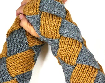 Grey Knit Wrist Warmers Knit Fingerless Gloves Brown Knit Accessories Knit Arm Warmers  Long Fingerless Mittens Hand Warmers