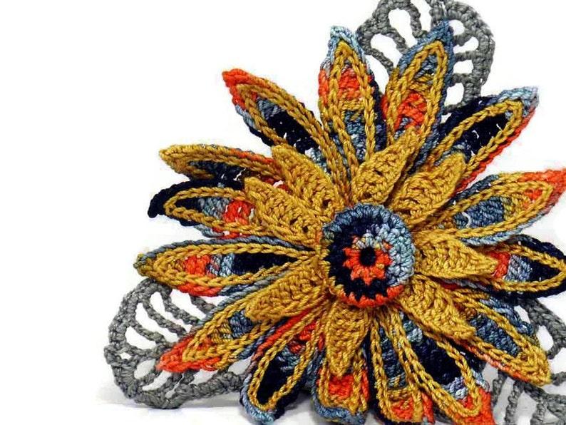 Crochet Brooch Fiber Brooch Flower Pin Irish Crochet Pin Daisy image 0