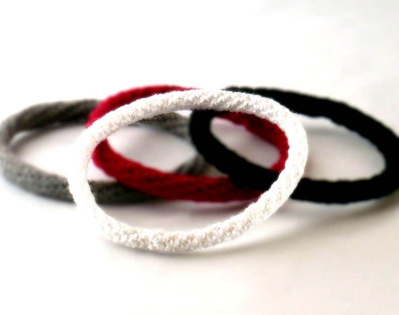 Crochet Bracelet Fiber Bracelet  Bangle Fine Thread Icord image 0