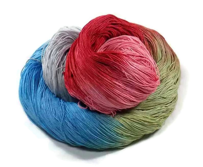 300 Yards Hand Dyed Cotton Crochet Thread Size 10 3 Ply Light image 0