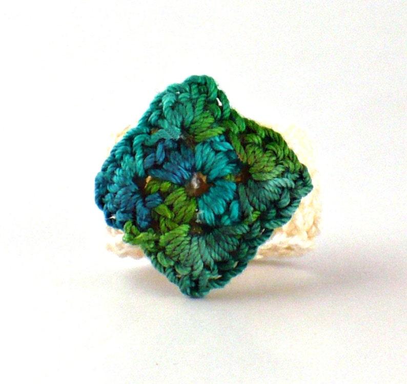 Crochet Ring Fiber Ring  Miniature Diamond Granny Square Green image 0