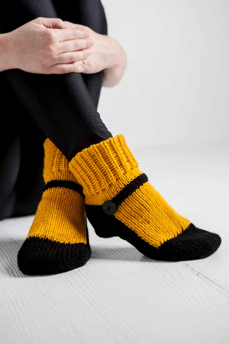 Knit Slipper Socks Adult Mary Jane Slippers Sox Dark Yellow image 0