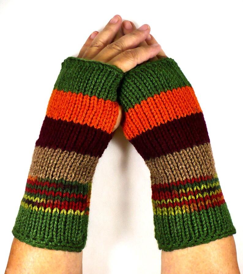Knit Arm Warmers Striped Gloves Green Gloves Orange Winter image 0