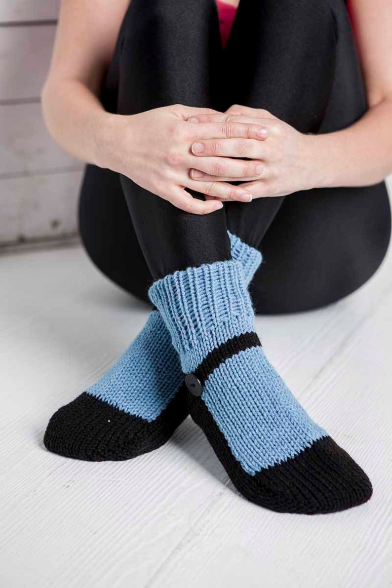 Knit Slipper Socks Adult Mary Jane Slippers Blue House image 0