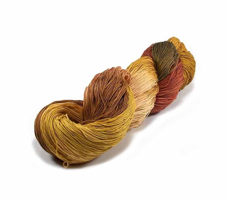 150 Yards Hand Dyed Cotton Crochet Thread Size 10 3 Ply Golden image 0