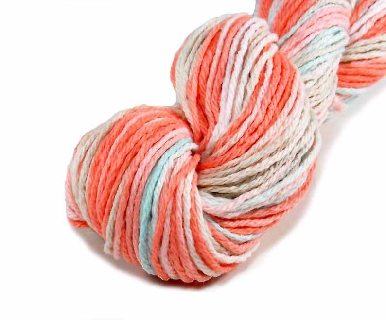 176 yards of hand dyed worsted weight cotton yarn in peach image 0