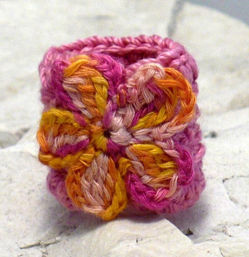 Crochet Ring Fiber Ring  Crocheted Ring Flower Applique Yellow image 0