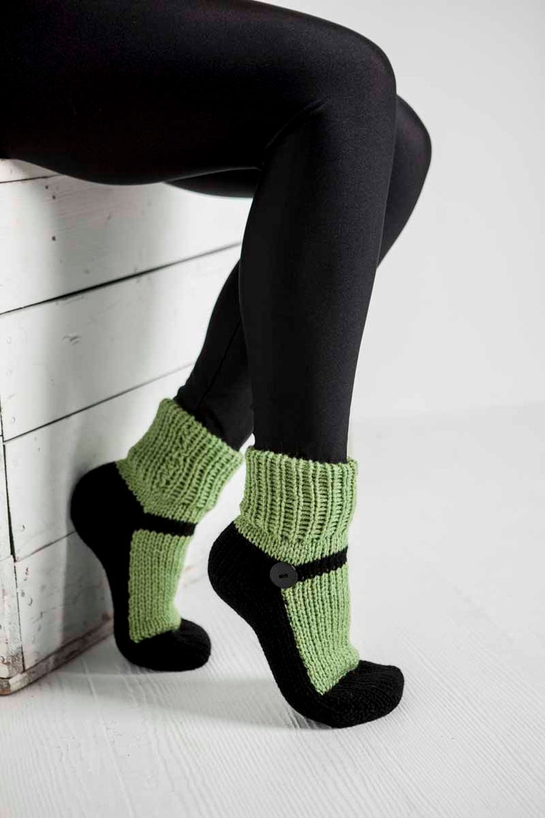 free shipping wholesale price the best Knit Slipper Socks Adult Mary Jane Slippers Sox Green House | Etsy