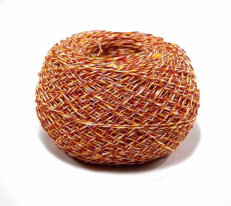 Crochet Thread 3 Ply Linen Thread Tri Color Orange Red White image 0