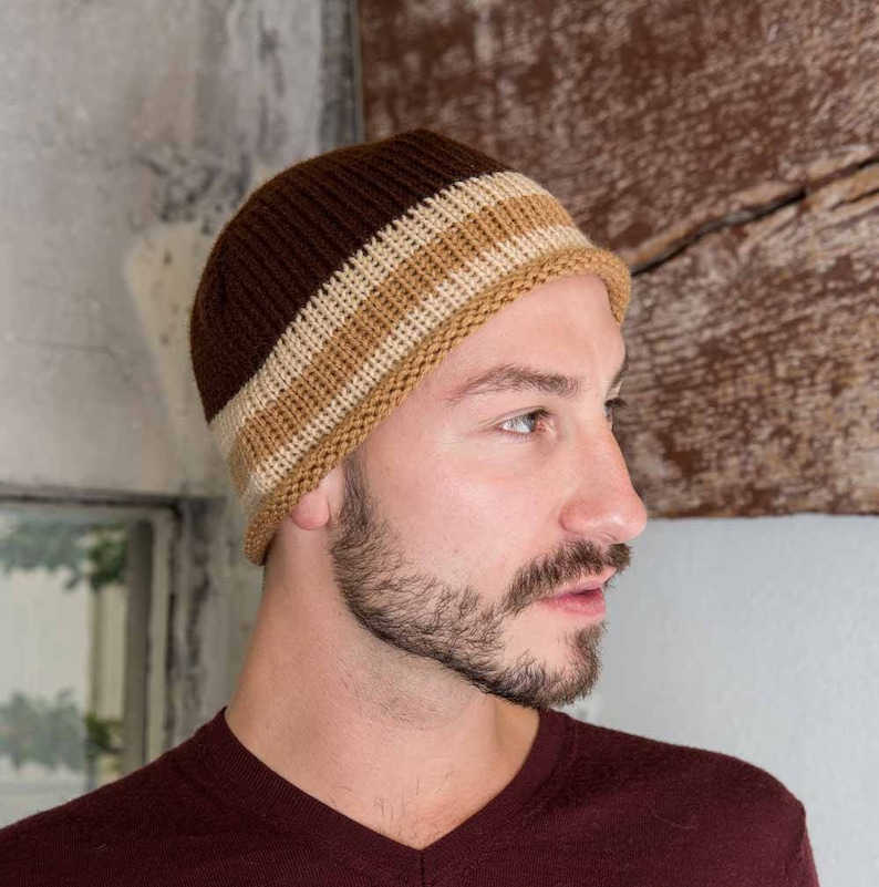 27a0c7f9bb0b5 Mens Knit Hat Beige Knit Skull Cap Medium Brown Mens Knit