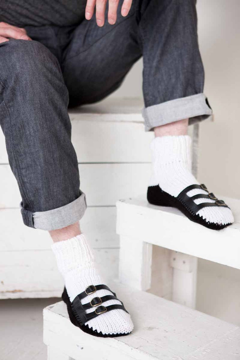Mens Slipper Socks Mens Knit Slippers White Black Sandal Sock image 0