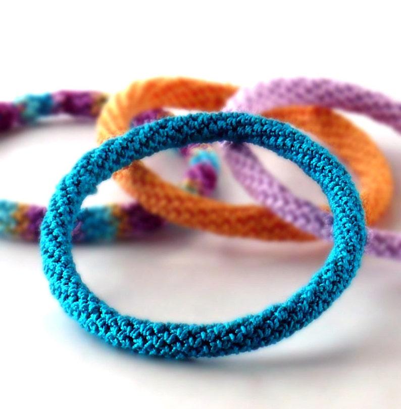 Crochet Bracelet Fiber Bracelet  Bangle Fine Thread Icord Dark image 0