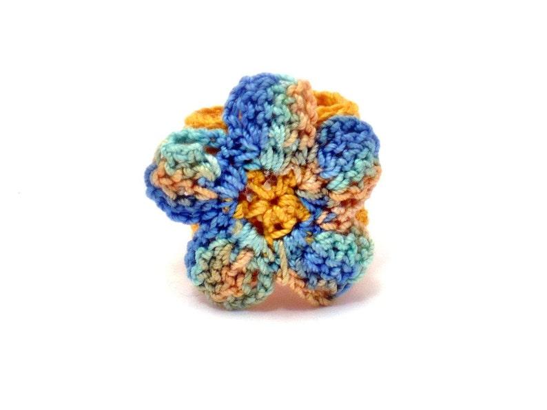 Crochet Ring Fiber Ring  Flower Applique Yellow Green Blue on image 0