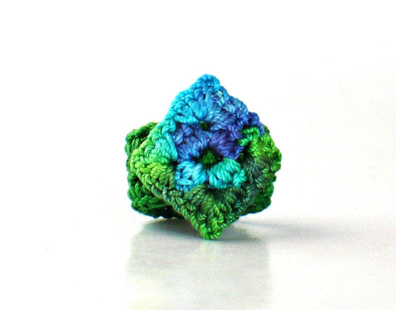 Crochet Ring Fiber Ring  Miniature Granny Square Ring Blue and image 0