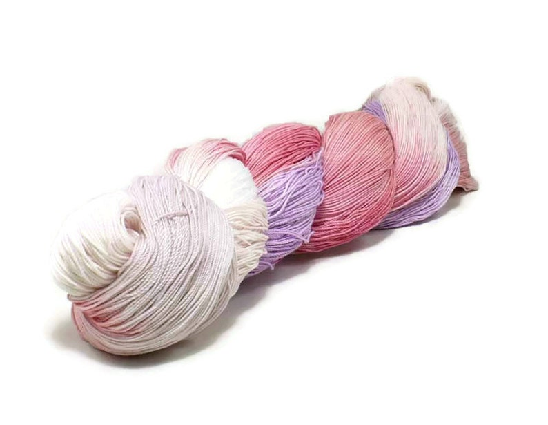 150 Yards Hand Dyed Cotton Crochet Thread Size 10 3 Ply White image 0