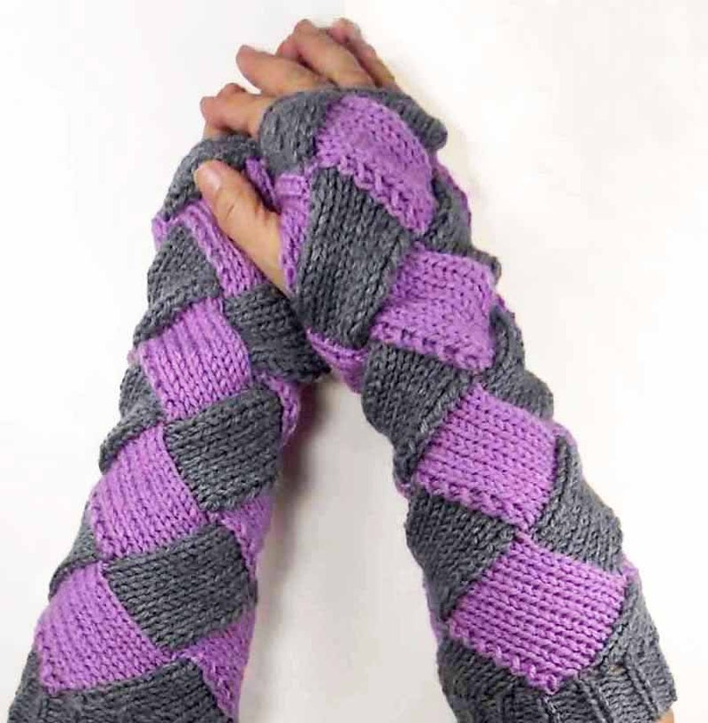 Knit Hand Warmers Warm Purple Gloves Grey Fashion Accessories image 0