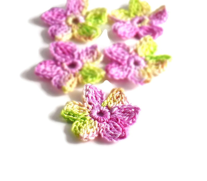 Crochet Applique Mini Flower Motif Flower Embellishment image 0
