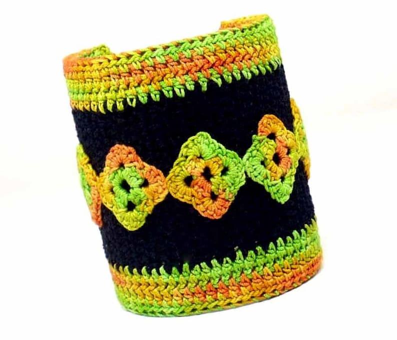 On Sale Marked Down 25% Crochet Cuff Bracelet Tribal Bracelet image 0