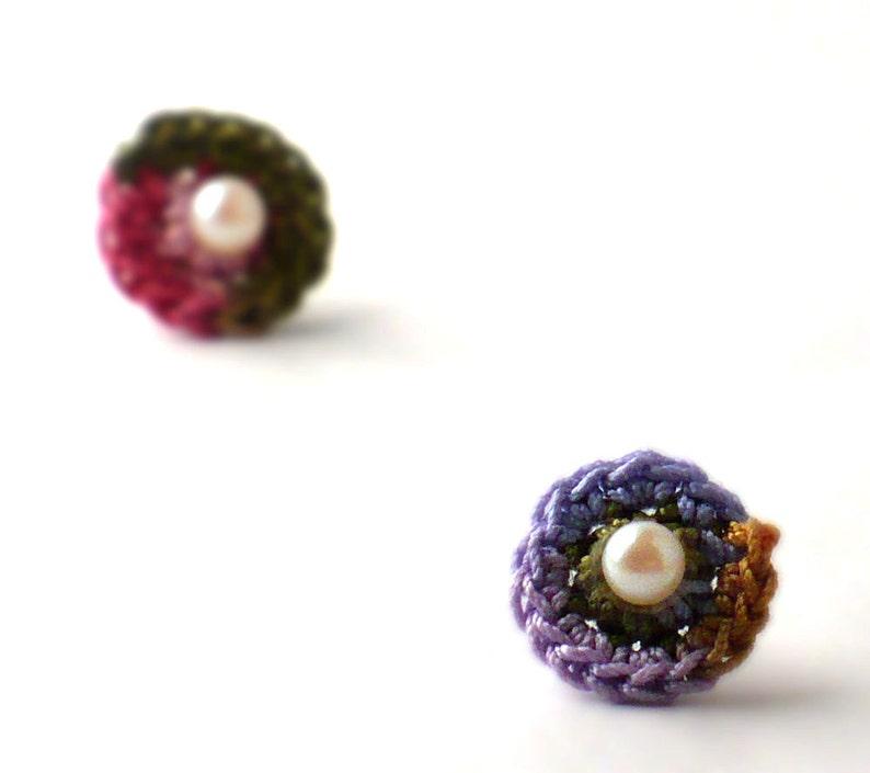 Crochet Earrings Stud Earrings Mini Circles Round Earrings image 0