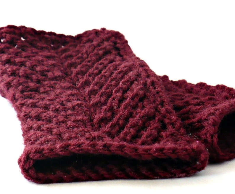 Knit Fingerless Gloves Burgundy Cable Gloves Cranberry image 0