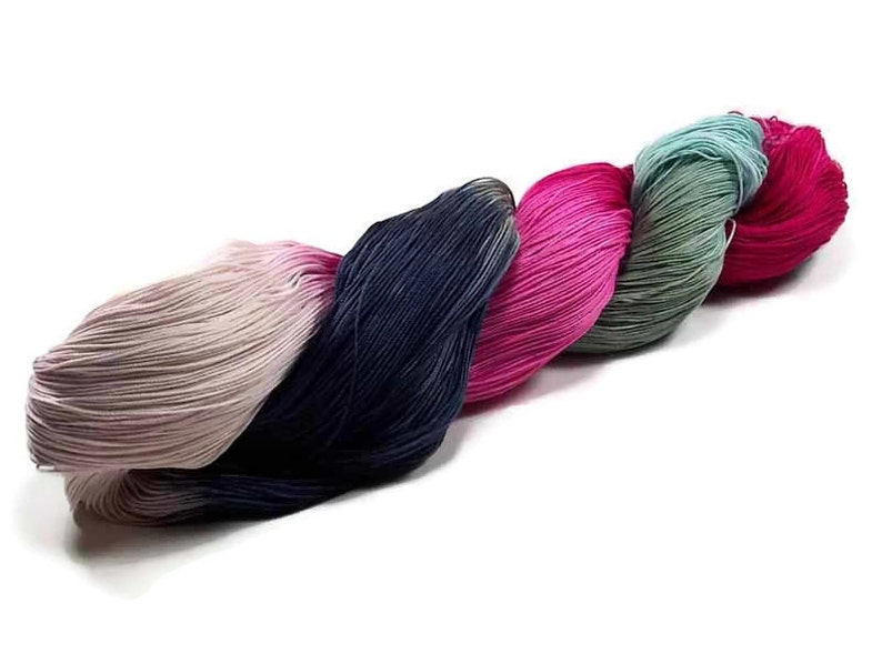 150 Yards Hand Dyed Cotton Crochet Thread Size 10 3 Ply Black image 0