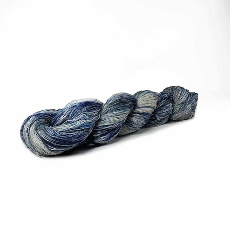 150Yards Hand Dyed Cotton Crochet Thread Size 10 3 Ply Blue image 0