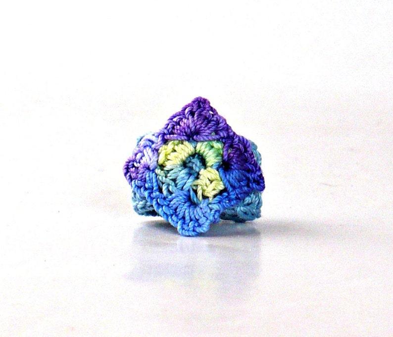 Crochet Ring Fiber Ring  Miniature Granny Square Blue Yellow image 0