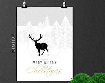 Merry Little Christmas Deer Print, Scandinavian Winter Wonderland Xmas Greetings, Holiday Decor Kids Room Seasonal Wall Art Printable Poster