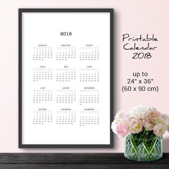 Large Minimalist Wall Calendar 2018 Black U0026 White Printable | Etsy