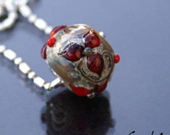 Lestat - pendentif lampwork perle ronde silvered fleur rouge sang - oeillet argent - ball chaine maillon double - Gaelys