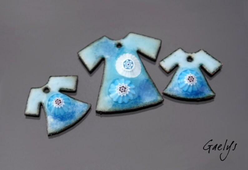 BO plated enamel sky pair  blue provence Gaelys charm Enamel on copper mouse