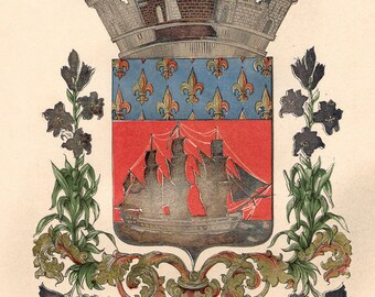 19th C French antique print - coat of arms