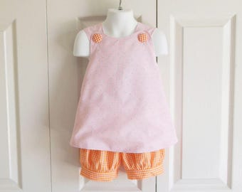 Cross-Back Pinafore Top and Bloomers Set baby or toddler Pink Duck Pique with orange gingham - 3 mos to 6 yrs