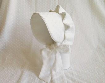 Baby Sun Bonnet Button Bonnet - White Swiss Dot