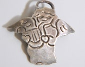 Vintage Mexico Sterling Silver Angel with Harp Brooch Pin