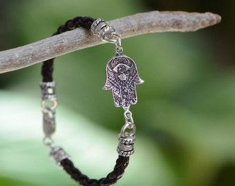 Hamsa Bracelet On Braided Leather Cord