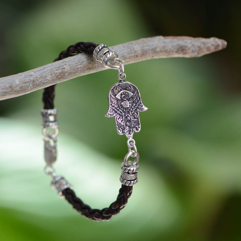 Hamsa Bracelet On Braided Leather Cord image 0