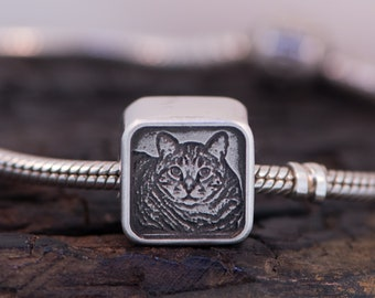 PET Engraved Photo Charm - Sterling Silver fits Pandora Bracelets.