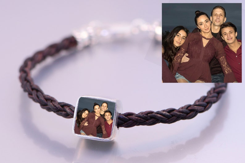 Photo Bead Solid Sterling Silver On Braided Leather Bracelet image 0