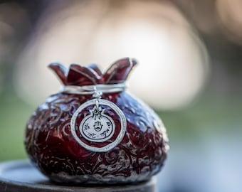 Personalized Pomegranate Silver Pendant.