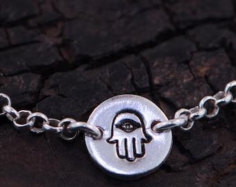 Hamsa Sterling Silver / Gold Dipped Bracelet