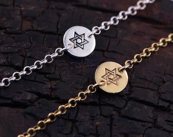 Star Of David Sterling Silver / Gold Dipped Bracelet