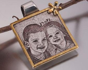 Gold Frame Photo Engraved Square Pendant