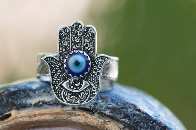 Hamsa Silver Ring  evil eye protection image 0