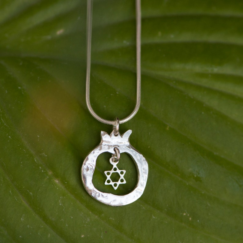 Pomegranate Silver Pendant  Star Of David image 0