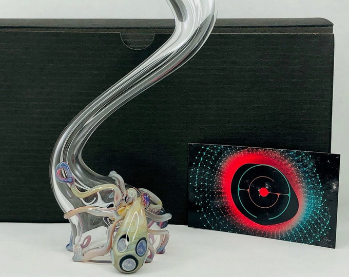Featured listing image: Octopus Large Glass Sherlock Pipe in Clear & Triple Passion, #772