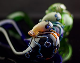 Octopus Sherlock / Glass Hand Pipe / Smoking Pipe / Tobacco Pipe / Glass Sherlock / Thick Wall Pipe / You Choose the Color / Made to Order