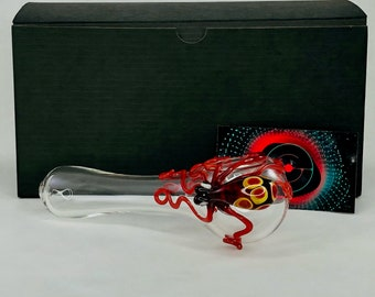 Octopus Glass Spoon Pipe in Clear & Ruby, #762