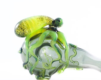 Octopus Glass Sherlock Pipe, Charcoal & Slyme, #697